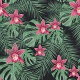 Безшовная тропическая картина вектора с цветками орхидей и экзотическими листьями ладони иллюстрация вектора