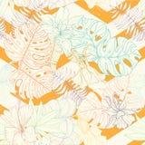 Безшовная тропическая картина листьев и цветков ладони иллюстрация вектора