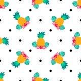 Безшовная тропическая картина с ананасами Можно использовать для ткани, заволакивания, ткани, оборачивать бесплатная иллюстрация