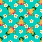 Безшовная тропическая картина с ананасами Можно использовать для ткани, заволакивания, ткани, оборачивать иллюстрация вектора