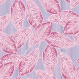 Безшовная тропическая картина с бананом выходит на striped предпосылку Стоковые Изображения RF