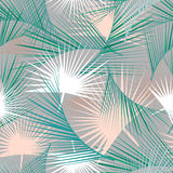 Безшовная тропическая картина с зелеными листьями ладони Текстура джунглей Улучшите для обоев, заполнений картины, предпосылок ин Стоковое Изображение RF