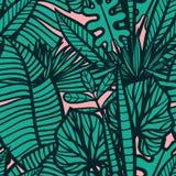 Безшовная тропическая картина с листьями Стоковые Изображения RF
