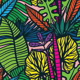 Безшовная тропическая картина с листьями Стоковая Фотография