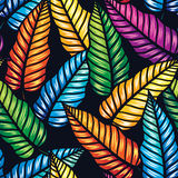 Безшовная тропическая картина с листьями Стоковые Изображения