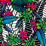 Безшовная тропическая картина с листьями Стоковое Фото