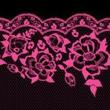 Безшовная ультрамодная картина шнурка с розовыми розами Дизайн вектора традиционный флористический Стоковые Изображения