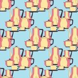 Безшовная утварь картины Комплект плит, чашек, столового прибора и чая штата кухни желтый цвет обоев вектора уравновешивания rac  Стоковая Фотография RF