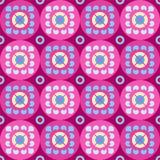Безшовная фиолетовая картина с цветками в кругах Иллюстрация вектора