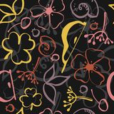 Безшовная флористическая покрашенная картина иллюстрация вектора