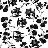 Безшовная флористическая предпосылка, черные силуэты Стоковые Изображения RF