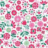 Безшовная флористическая ретро картина вектора - дизайн ткани стиля руки вычерченный винтажный скандинавский с красными и зеленым бесплатная иллюстрация