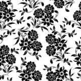 Безшовная флористическая черная белая картина бесплатная иллюстрация