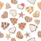 Безшовная форма квадрата картины от пряников рождества и сладостных печений Стоковые Изображения
