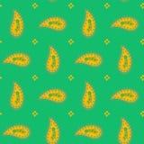 Безшовная флористическая абстрактная картина оранжевое Пейсли на предпосылке зеленого цвета весны, руке нарисованный орнамент, де иллюстрация штока