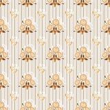 Безшовная флористическая бежевая текстура картины на striped Стоковые Изображения
