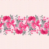 Безшовная флористическая граница с розовыми розами Стоковое Изображение RF