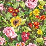 Безшовная флористическая и травяная картина, акварель Стоковые Изображения RF