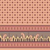 Безшовная флористическая картина с декоративной границей Стоковое Изображение RF