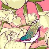 Безшовная флористическая предпосылка с птицей пионов Стоковое Изображение