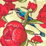 Безшовная флористическая предпосылка с птицей пионов Стоковые Изображения RF