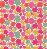 Безшовная флористическая предпосылка с ягодами, floesrs, листает бесконечная текстура ткани Стоковые Изображения