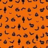 Безшовная черная и оранжевая предпосылка хеллоуина Стоковая Фотография
