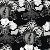 Безшовная черная предпосылка с серыми орхидеями иллюстрация штока