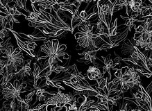 Безшовная черная предпосылка цветка Стоковое Изображение RF