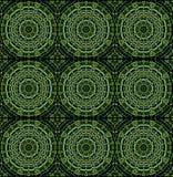 Безшовная чернота зеленого цвета картины концентрических кругов Стоковое Изображение RF