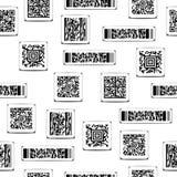 Безшовная черно-белая картина с штрихкодами стоковые изображения