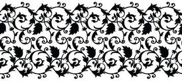 Безшовная черно-белая swirly граница Стоковое Изображение