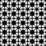 Безшовная черно-белая геометрическая предпосылка с флористическими элементами Стоковые Фото