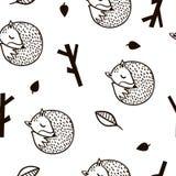 Безшовная черно-белая картина с лисой, ветвью и листьями Текстура Minimalistic в скандинавском стиле Предпосылка вектора Стоковое фото RF