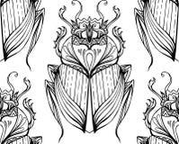 Безшовная черно-белая картина с скарабеем нарисованным рукой племенным Стоковое Изображение RF