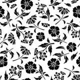 Безшовная черно-белая картина с цветками также вектор иллюстрации притяжки corel бесплатная иллюстрация