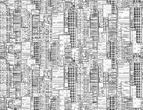 Безшовная черно-белая текстура с контурами небоскребов иллюстрация вектора
