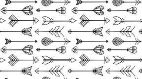 Безшовная черно-белая текстура с стрелками Boho иллюстрация штока