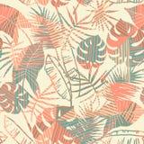 Безшовная экзотическая картина с тропическими заводами и геометрической предпосылкой иллюстрация штока