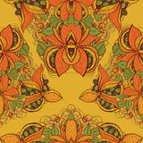 Безшовная экзотическая картина цветка в векторе Стоковые Фотографии RF