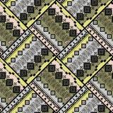 Безшовная этническая геометрическая картина заплатка Серая, зеленая предпосылка Стоковая Фотография