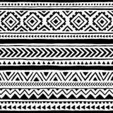 Безшовная этническая и племенная картина handmade Горизонтальные нашивки Стоковое фото RF