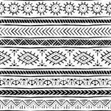 Безшовная этническая и племенная картина handmade Горизонтальные нашивки Стоковые Фото