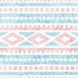 Безшовная этническая картина Геометрический орнамент нарисованный в карандаше Голубые и розовые тени на белой предпосылке r бесплатная иллюстрация