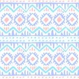 Безшовная этническая печать Голубые, серые и розовые нашивки на белом ба иллюстрация вектора