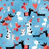 Безшовная яркая картина влюбленныхся собак Стоковое Изображение