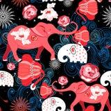 Безшовная яркая праздничная картина красных слонов с розами иллюстрация вектора