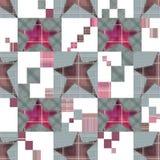 Безшовная checkered картина звезд заплатки детей Стоковые Изображения