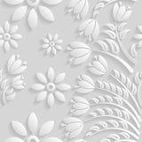 Безшовная 3D белая картина, естественный цветочный узор, вектор Бесконечную текстуру можно использовать для обоев, заполнений кар Стоковая Фотография RF