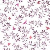 Безшовная ditsy картина - летящие птицы листьев милой акварели фиолетовые, красных и розовых ретро иллюстрация вектора